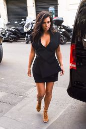 Kim Kardashian in Mini Dress - Out in Paris - September 2014