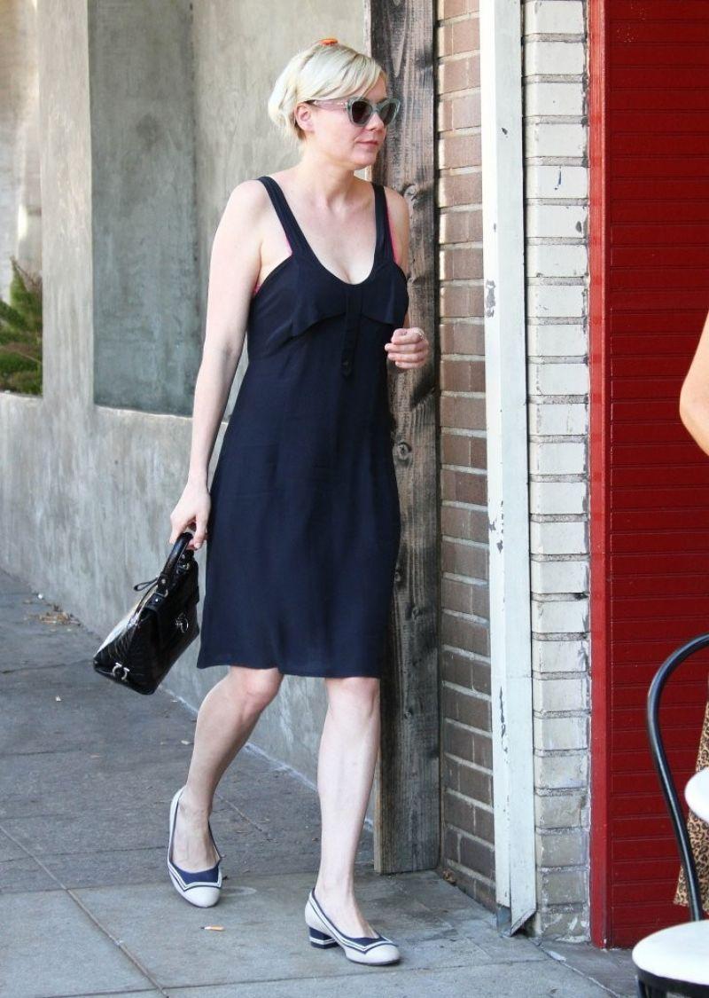 a1e1a1192 Kirsten Dunst in Black Summer Dress - Running Errands In Los Feliz ...