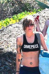 Kristen Stewar in Shorts - Hiking in Malibu, September 2014