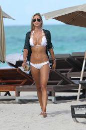 Lauren Stoner in White Bikini on the Beach in Miami - September 2014