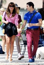 Lea Michele Leggy - On the Set of