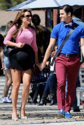 Lea Michele Leggy - On the Set of