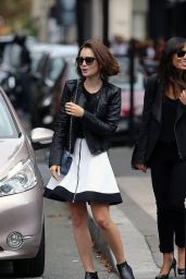 Lily Collins in Paris - Leaving Givenchy Store, September 2014