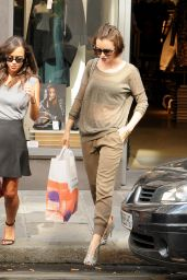 Lily Collins Street Style - Shopping in Paris, September 2014