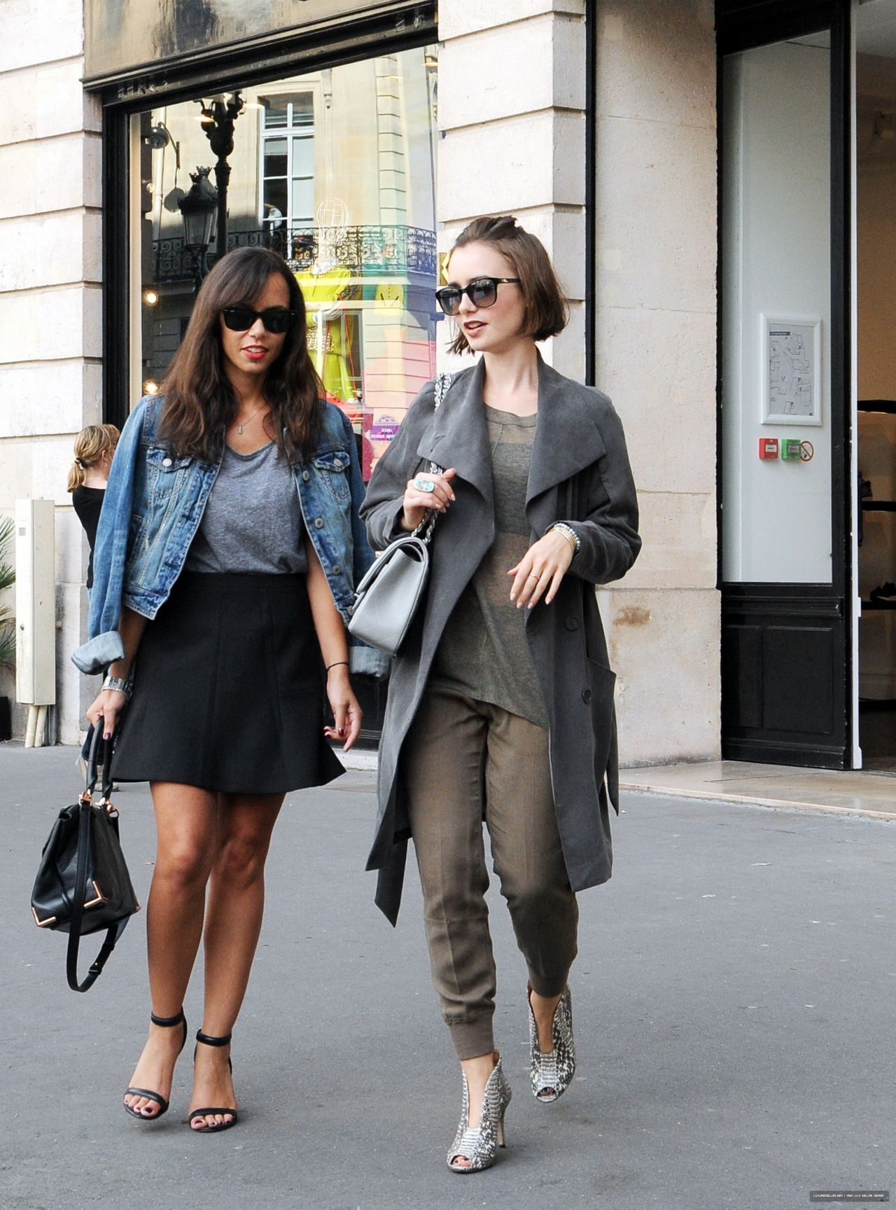 lily collins street style shopping in paris september 2014