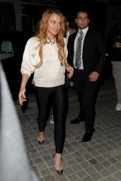 Lindsay Lohan Night Out Style - at the Chiltern Firehouse in London - Sept. 2014