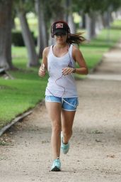 Lucy Hale - Jogging Before Going to a Gym in Los Angeles - Sept. 2014