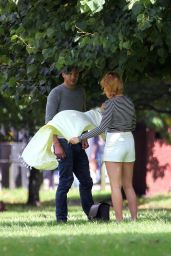 Margot Robbie Booty in Shorts at a Park in London - Sept. 2014
