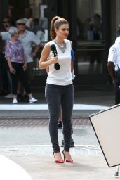 Maria Menounos Filming at The Grove in West Hollywood - Sep 2014