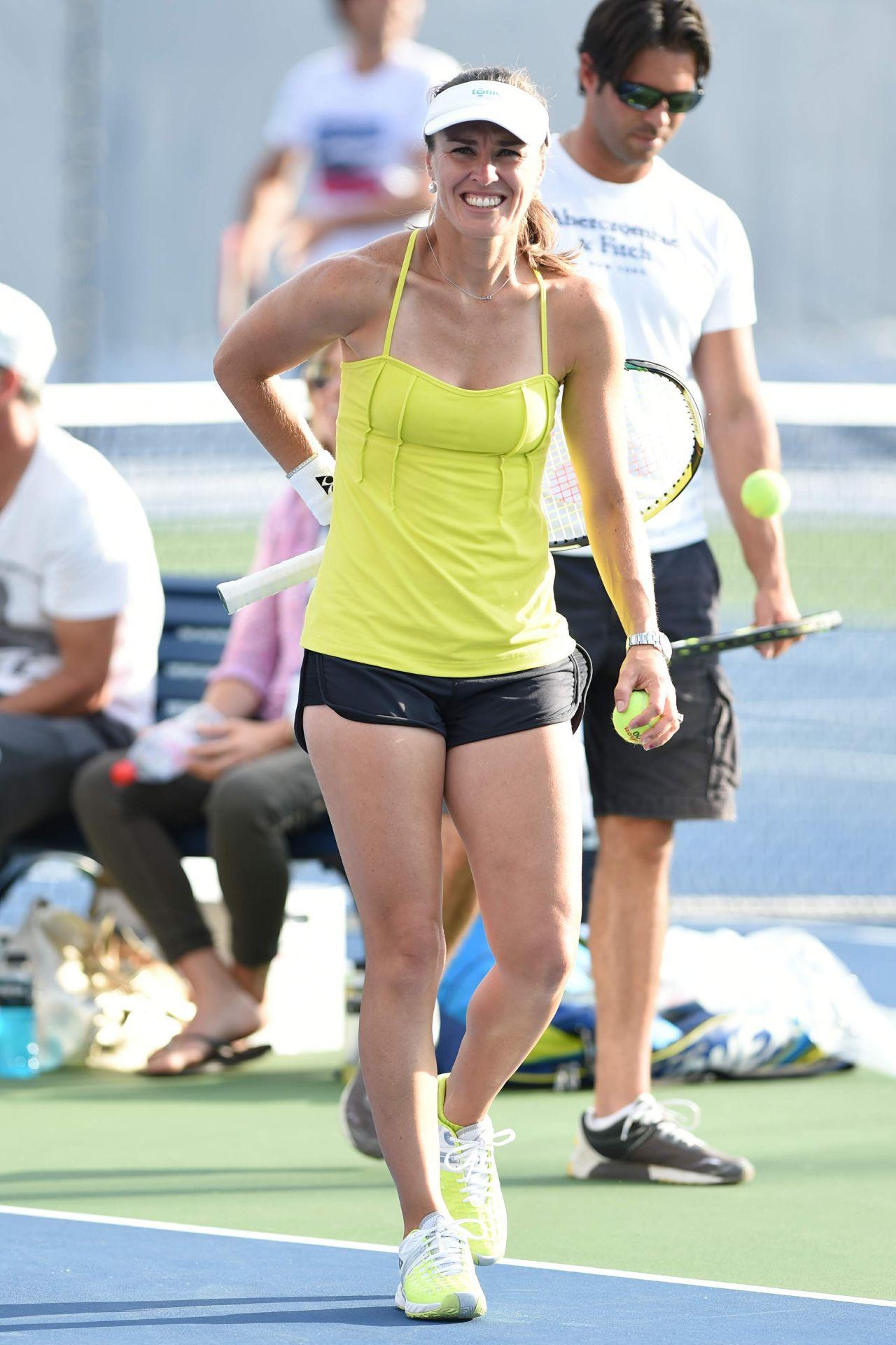 Martina Hingis Practice U S Open 2014