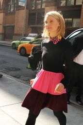 Mia Wasikowska in a Colorful Skirt in New York City - September 2014