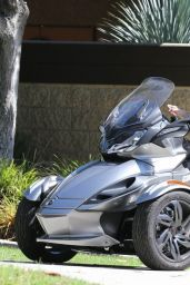 Miley Cyrus - Riding Cam-Am Spyder Limited ST Motorcycle in Beverly Hills - Sept. 2014