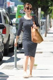 Minka Kelly Booty in Striped Dress - Out in Los Angeles, September 2014
