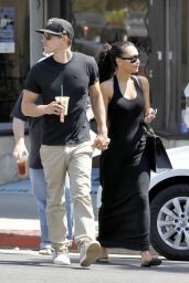 Naya Rivera in a Black Maxi Dress Out in Beverly Hills - September 2014