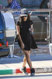 Naya Rivera Leggy in Black Mini Dress - Leaving Spitz Resturant in LA, Sept. 2014