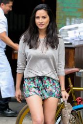 Olivia Munn Leggy in Shorts - Leaving The Bowery Hotel in New York City - September 2014