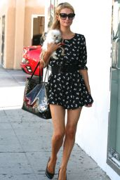 Paris Hilton in Mini Dress - Out in West Hollywood - September 2014