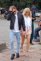 Pixie Lott Shows Pff Plenty of Leg in Mini Skirt - Out in Milan, Italy