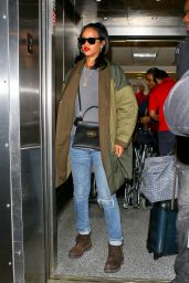 Rihanna in Jeans - Arriving at LAX Airport in Los Angeles, Sept. 2014