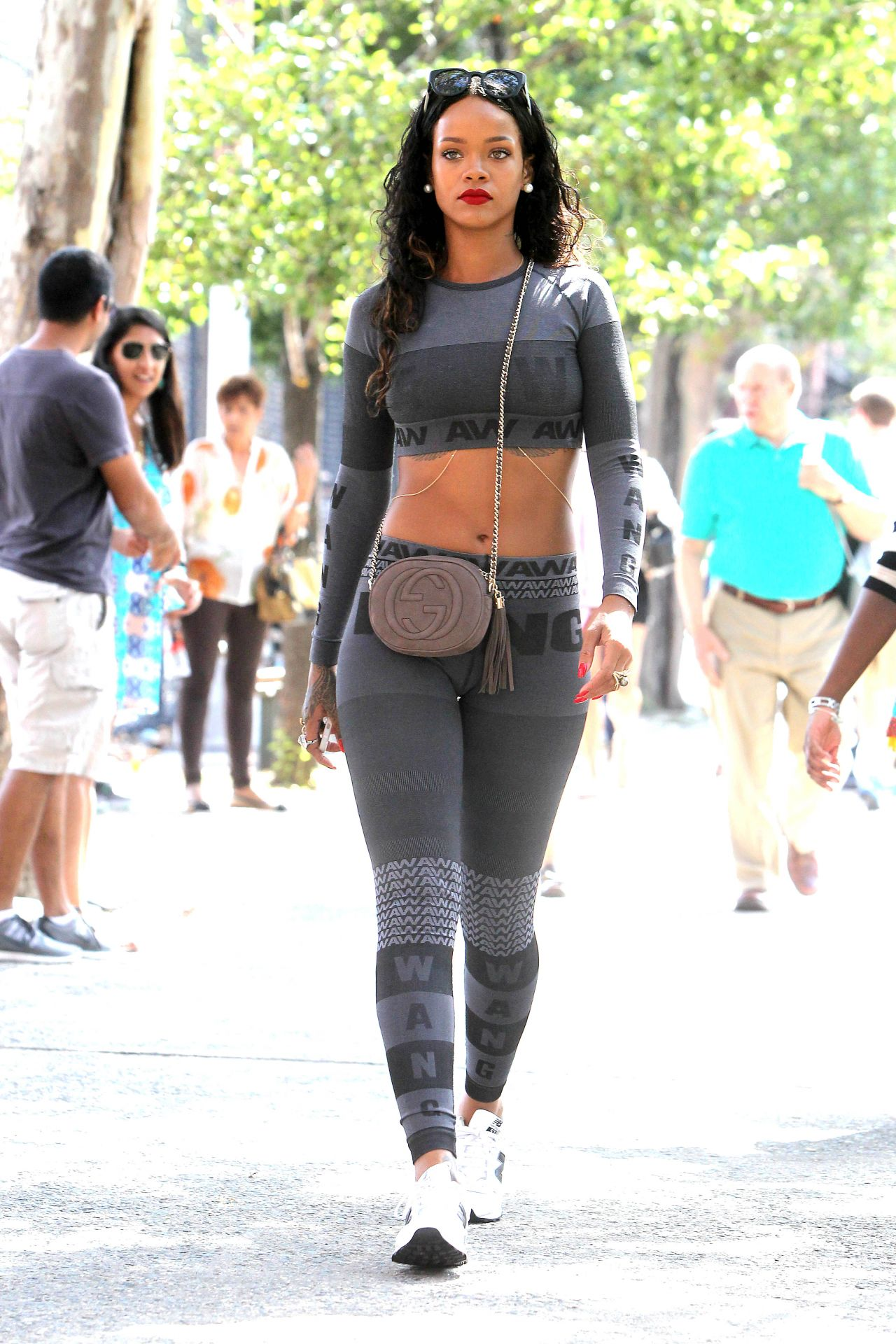 Rihanna in Leggings Out in New York City