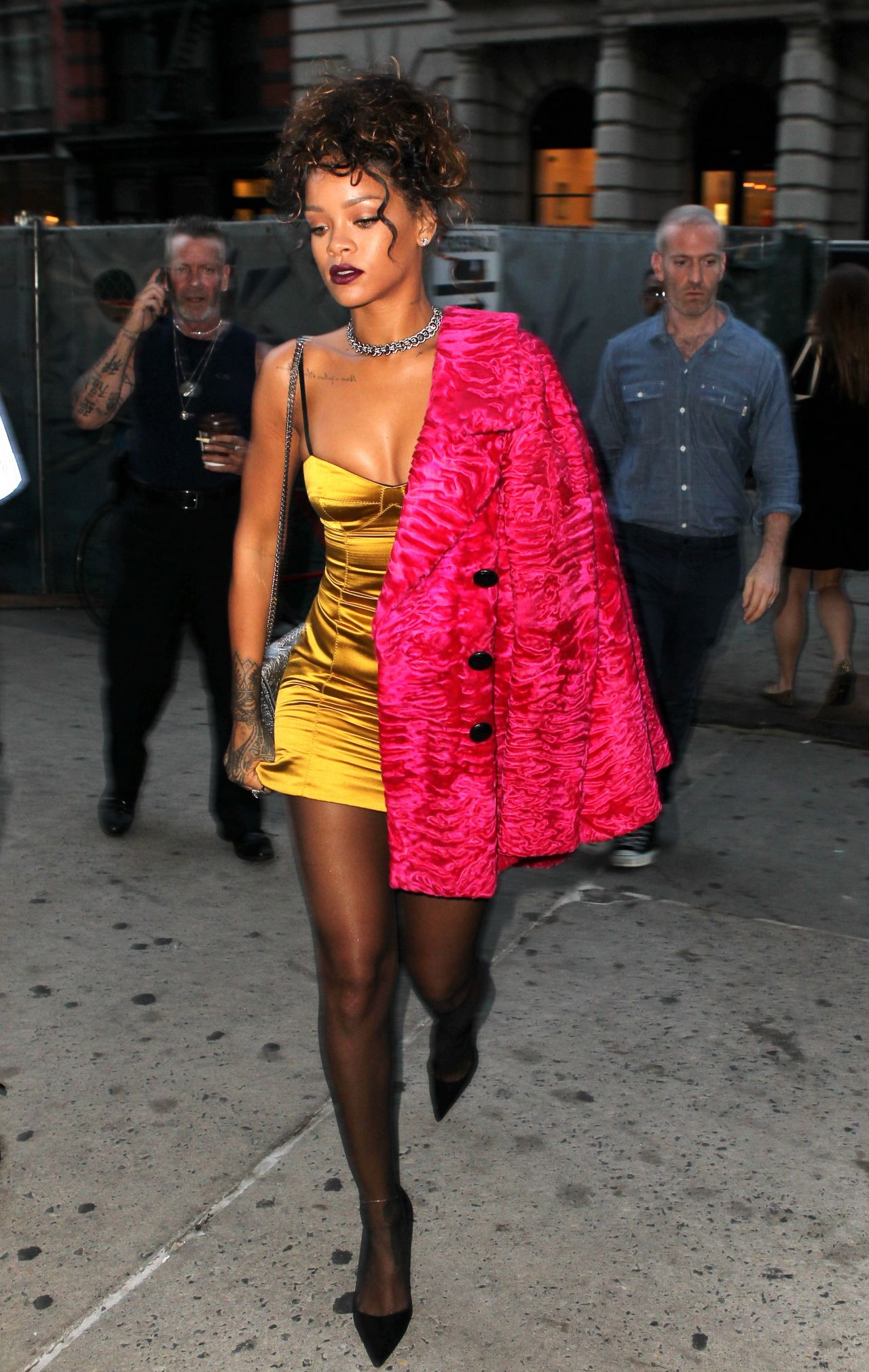 rihanna style  arriving at nobu restaurant in tribeca