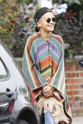 Rita Ora in a Poncho - Out in London - September 2014