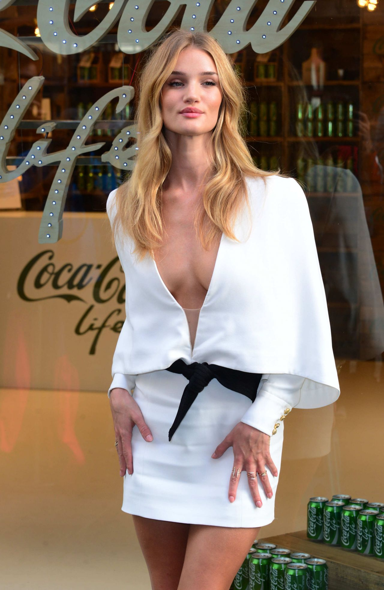 Rosie Huntington-Whiteley in a White Dress - Launches Coca-Cola Life in London - September 2014