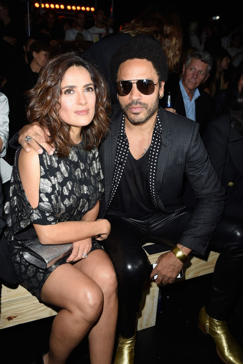 Salma Hayek & Lenny Kravitz - Paris Fashion Week - Saint Laurent Show, Sept. 2014