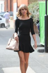 Taylor Swift in Black Mini Dress - Leaving the Ham Yard Hotel in London