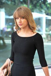 Taylor Swift in Black Mini Dress - Leaving the Ham Yard Hotel in London