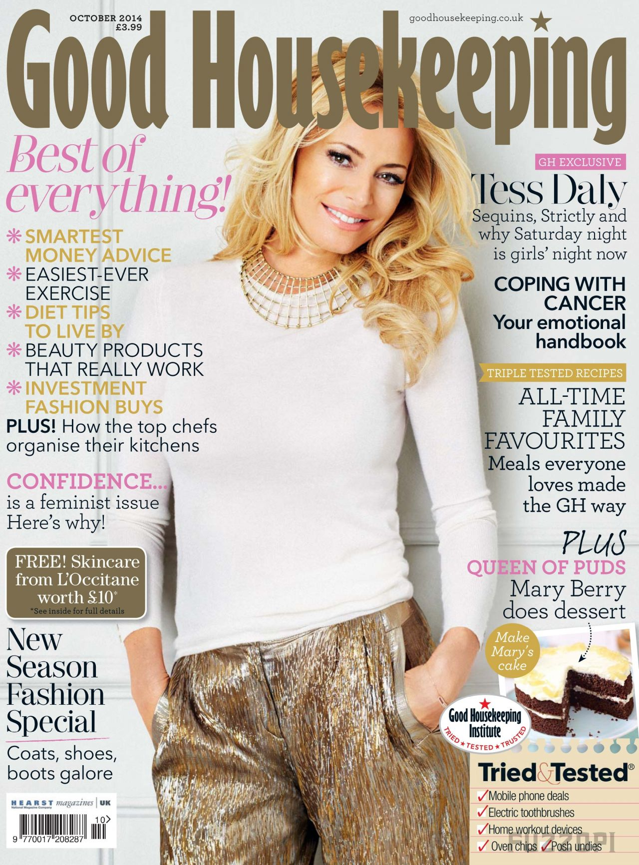 Tess Daly - Good Housekeeping Magazine (UK) - October 2014 Cover