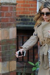 Abbey Clancy in Wind Coat at an Agent Provocateur Store in Soho, London