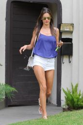 Alessandra Ambrosio in White Shorts - Out in West Hollywood - October 2014