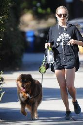 Amanda Seyfried Leggy in Shorts With Her Dog in West Hollywood - October 2014