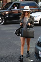 Ashley Tisdale Leggy in Denim Shorts - Out in Beverly Hills, October 2014