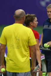 Caroline Wozniacki Practices - BNP Paribas WTA Finals 2014 in Singapore