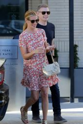 Cat Deeley Wearing a Flowered Mini Dress in Beverly Hills - October 2014