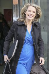 Charlotte Hawkins in Blue Dress - Leaving the ITV Studios in London - October 2014