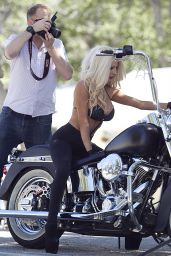 Courtney Stodden Photoshoot - in Leather Pants and Bikini Top on a Harley-Davidson (2014)
