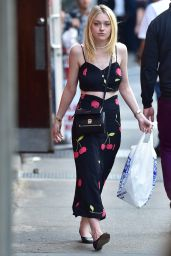 Dakota Fanning in a Halter Top Dress - Out in Soho - October 2014