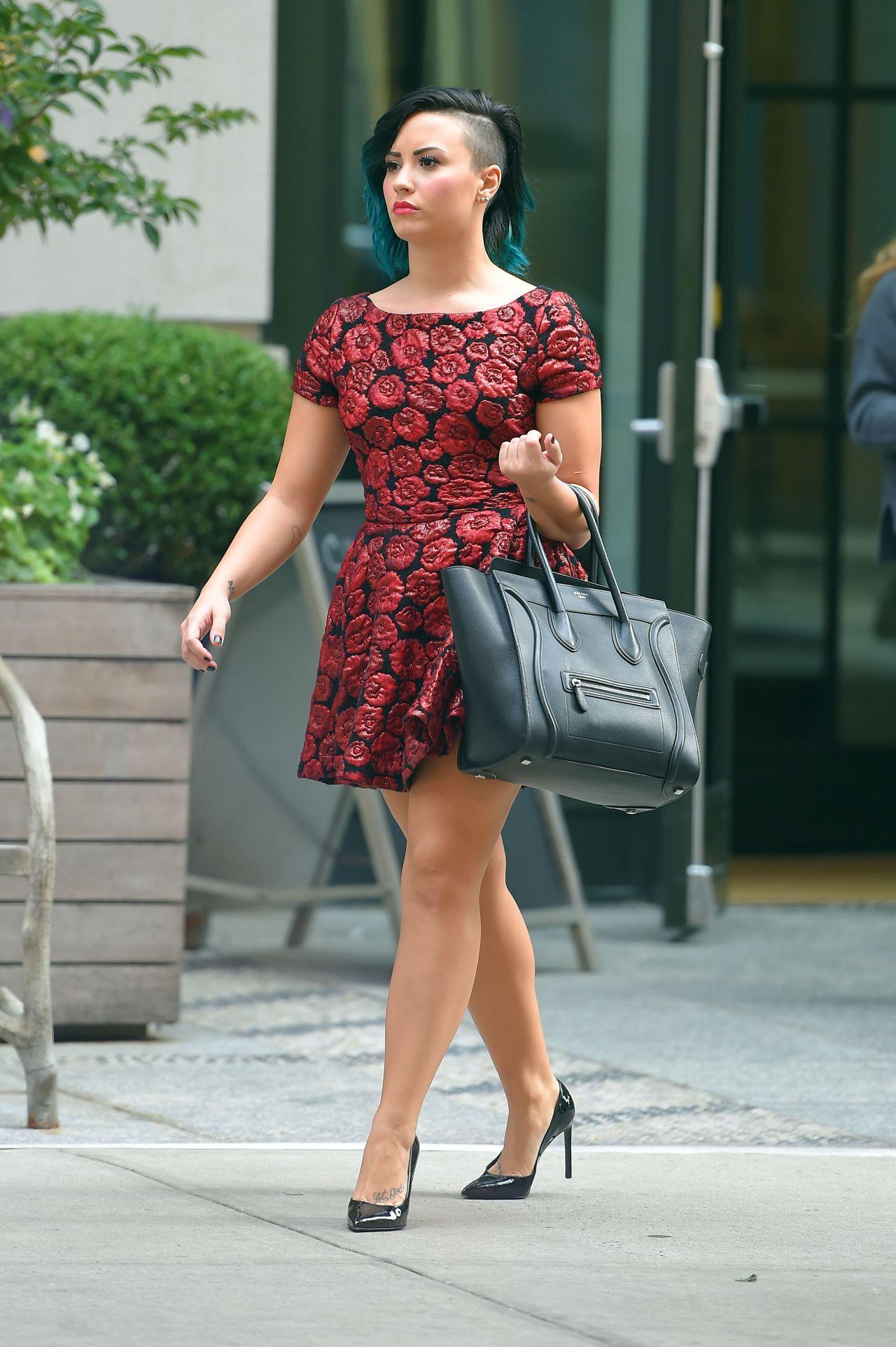 demi lovato in mini dress out in soho nyc october 2014