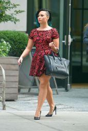 Demi Lovato in Mini Dress - Out in Soho, NYC - October 2014