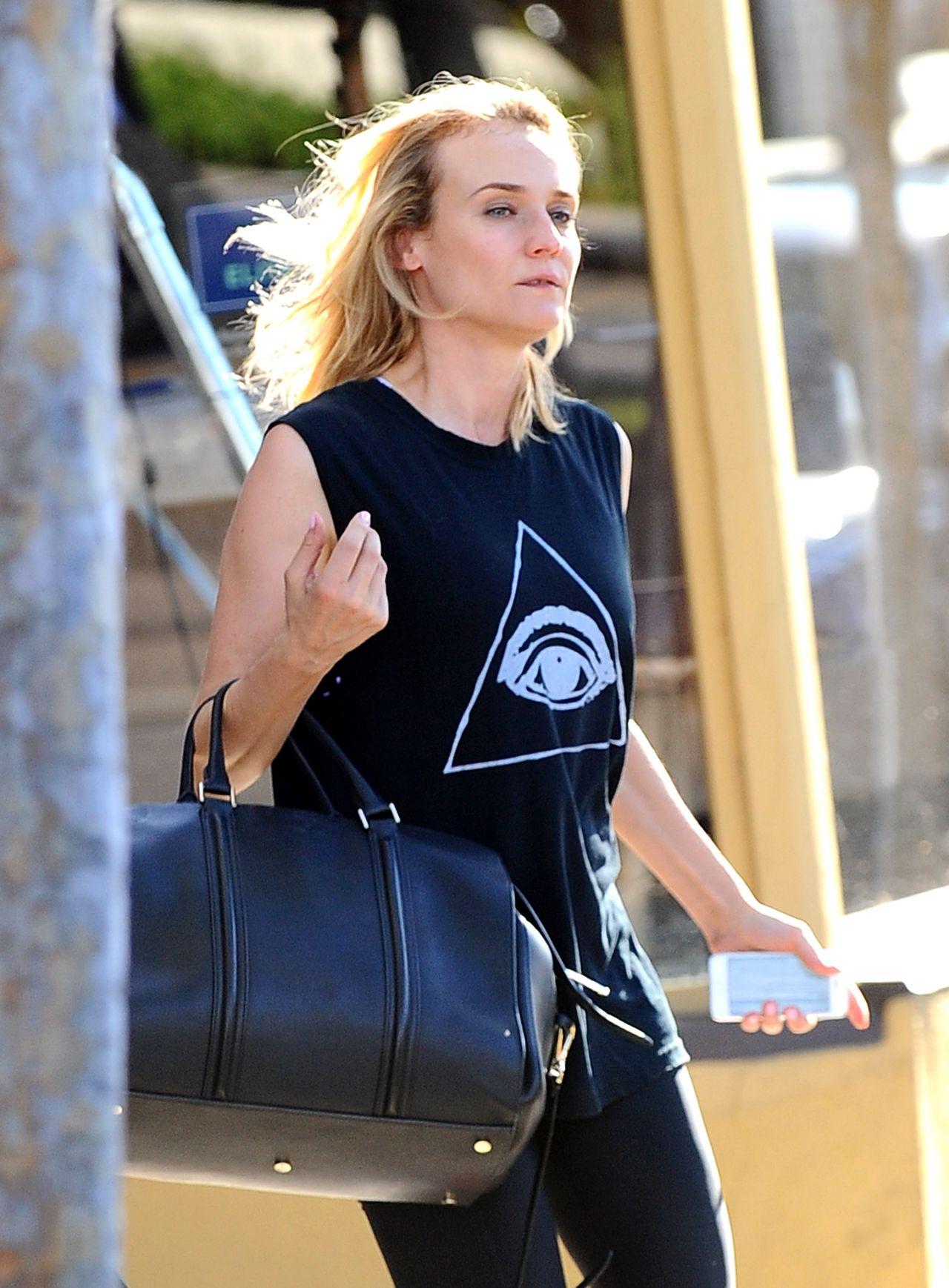 Diane Kruger in Tights - Leaving a Gym in Los Angeles - September 2014