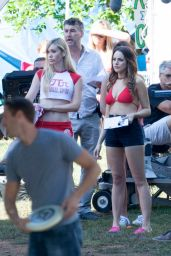 Elizabeth Gillies Wears Bikini Top on the Set of