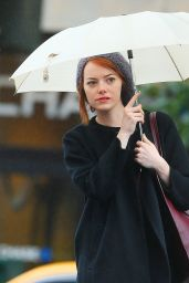Emma Stone in New York City - Out in the Rain, October 2014