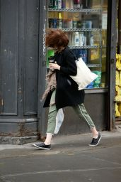 Emma Stone - Shopping on a Windy Day in New York City - October 2014