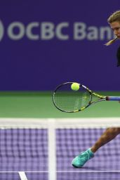 Eugenie Bouchard Practices Prior to the BNP Paribas WTA Finals 2014 at Singapore