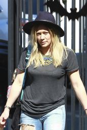 Hilary Duff in Ripped Jeans - Halloween Costume Party at a School in Beverly Hills - October 2014