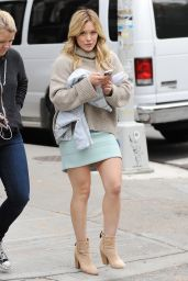 Hilary Duff - Leggy in Mini Skirt - on the Set of