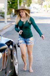 Hilary Duff Leggy in Ripped Denim Jeans - October 2014